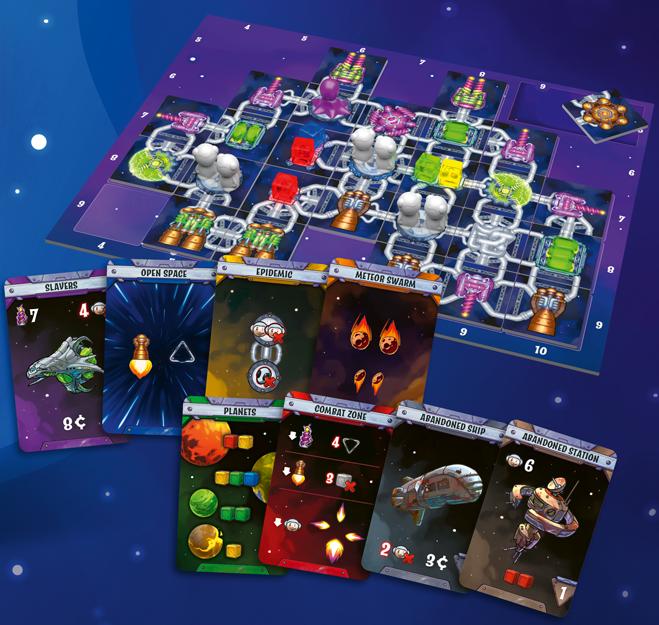 Das ist ein Bild der Spielmaterialien von Galaxy Trucker
